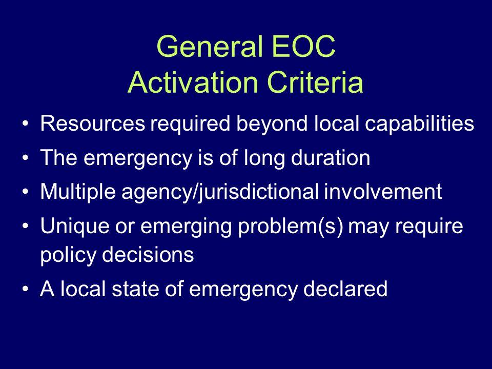 General EOC Activation Criteria