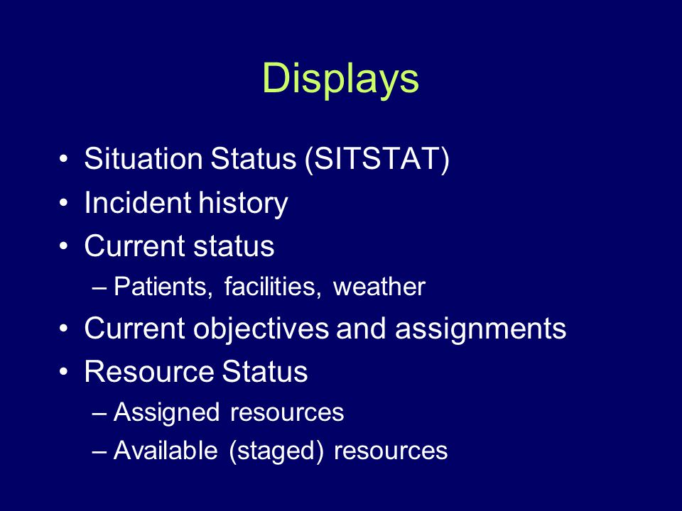 Displays Situation Status (SITSTAT) Incident history Current status