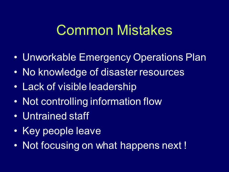 Common Mistakes Unworkable Emergency Operations Plan