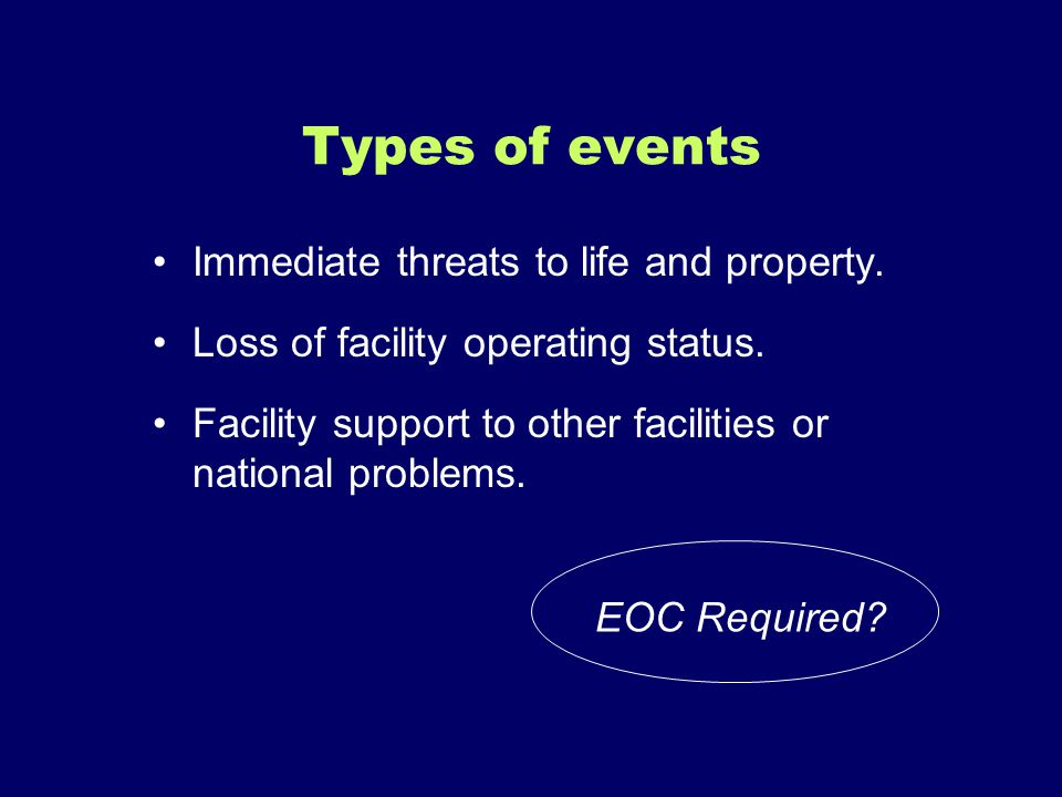 Types of events Immediate threats to life and property.