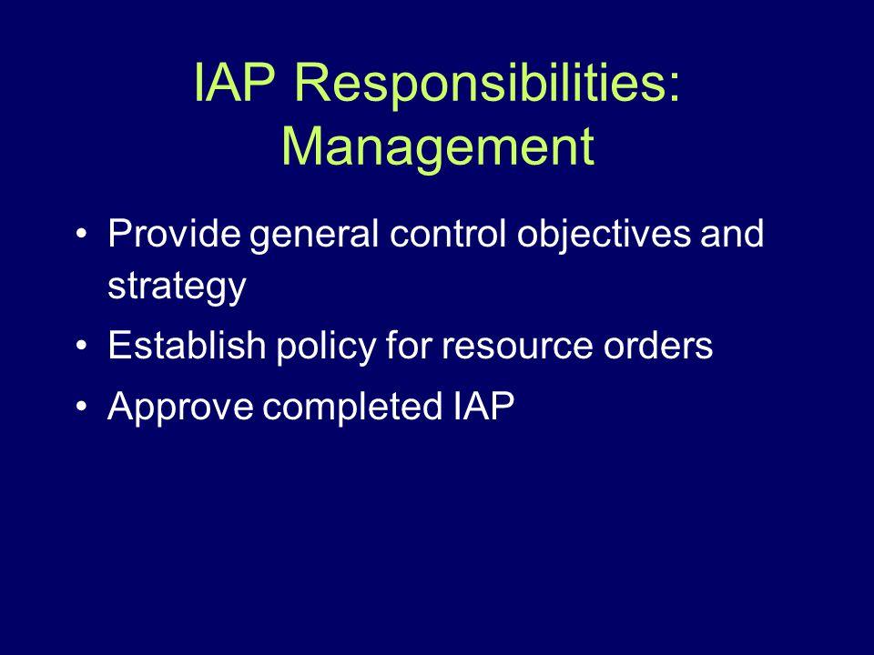 IAP Responsibilities: Management