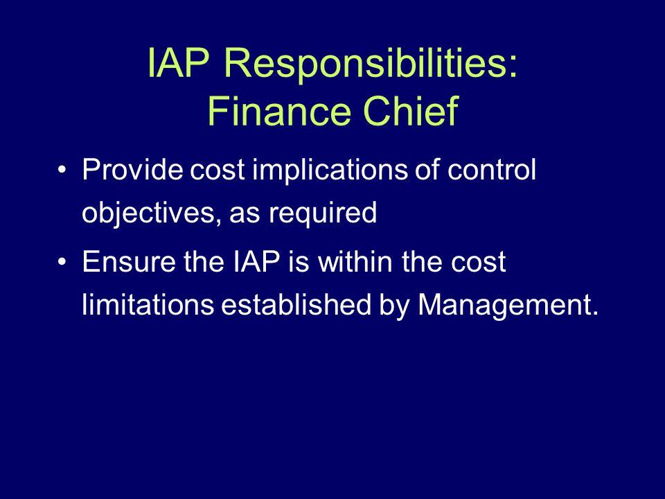 IAP Responsibilities: Finance Chief