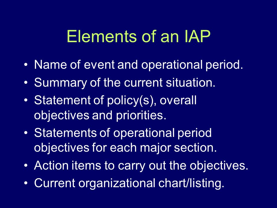 Elements of an IAP Name of event and operational period.