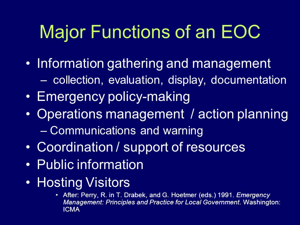Major Functions of an EOC