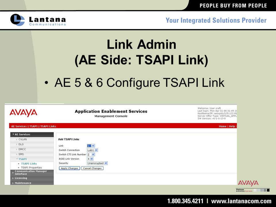 Link Admin (AE Side: TSAPI Link)