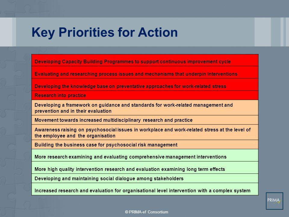 Key Priorities for Action
