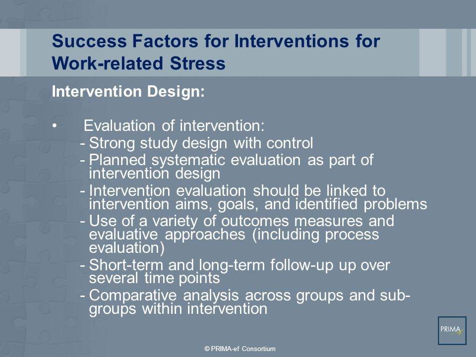 Success Factors for Interventions for Work-related Stress