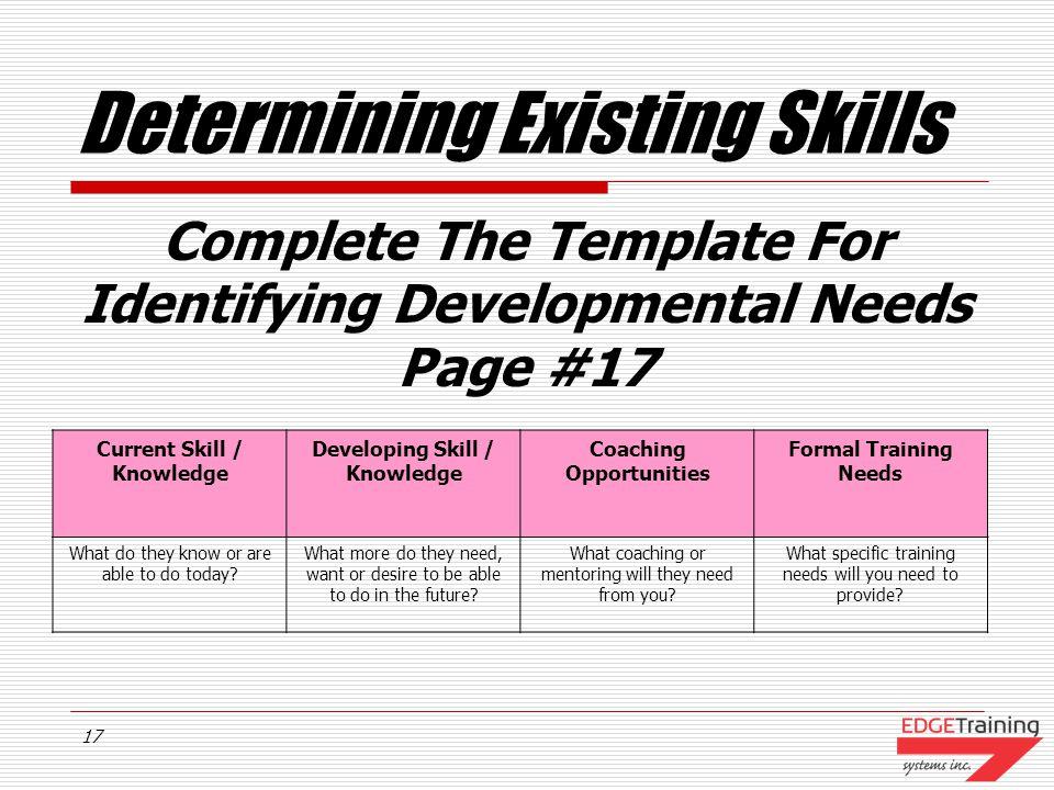 Determining Existing Skills