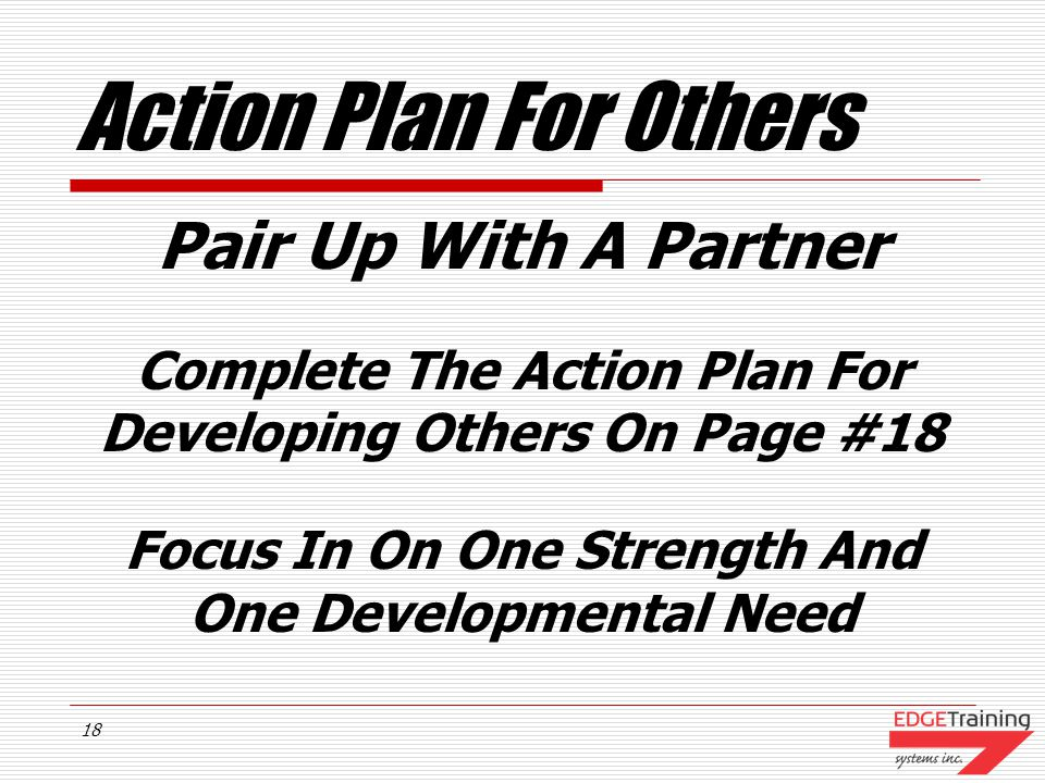 Action Plan For Others Pair Up With A Partner