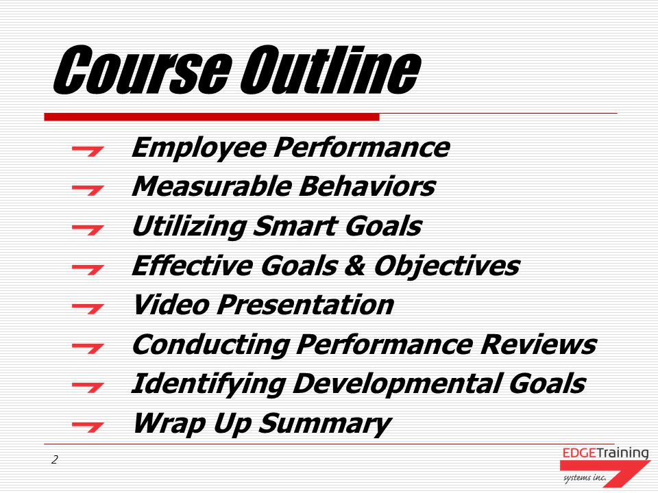 Course Outline Employee Performance Measurable Behaviors