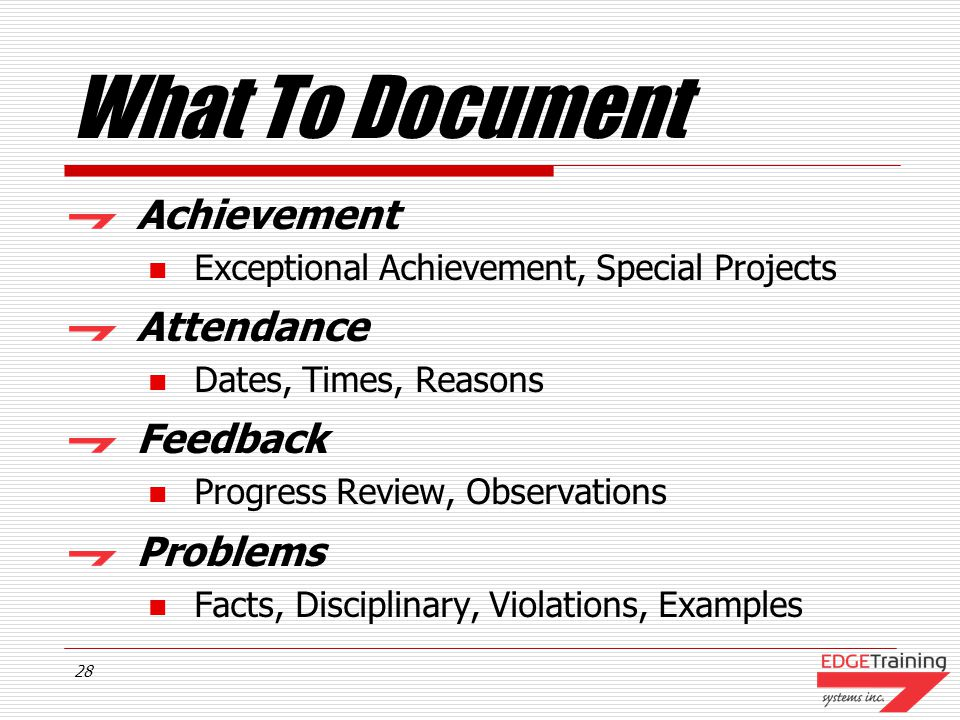 What To Document Achievement Attendance Feedback Problems