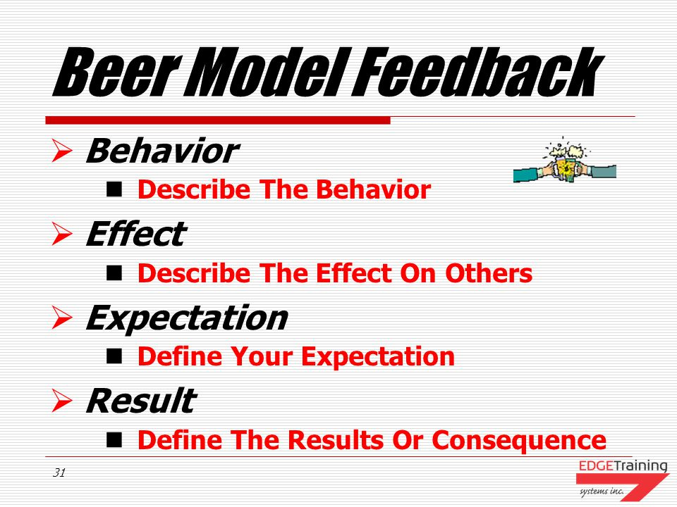 Beer Model Feedback Behavior Effect Expectation Result