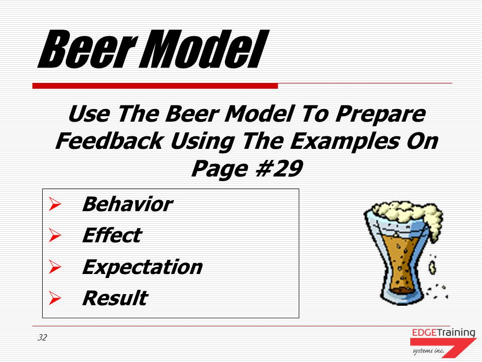 Use The Beer Model To Prepare Feedback Using The Examples On Page #29