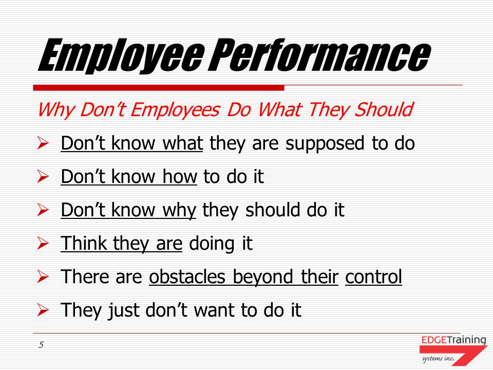 Employee Performance Why Don't Employees Do What They Should