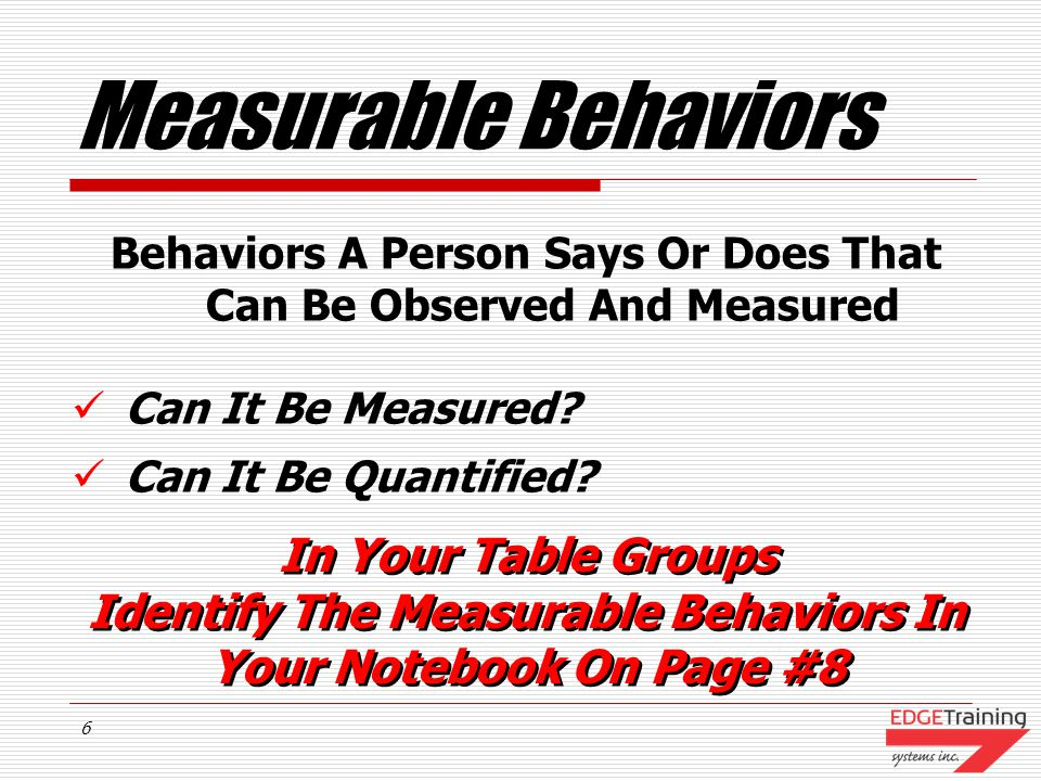 Measurable Behaviors In Your Table Groups