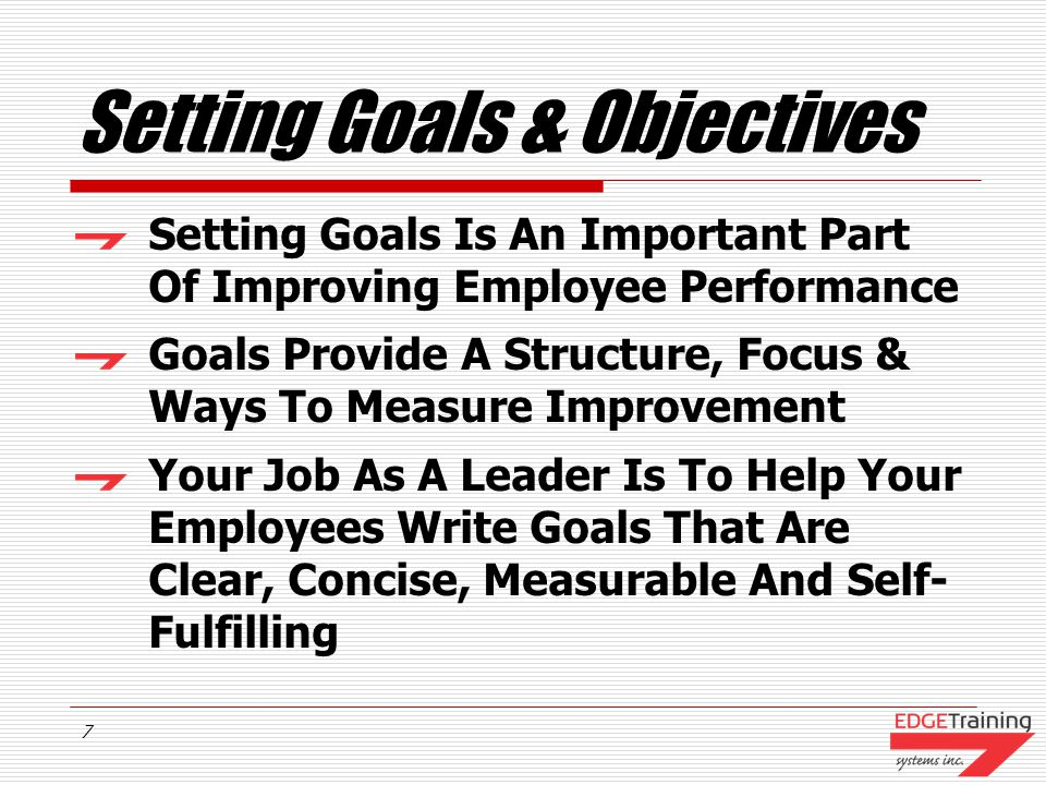 Setting Goals & Objectives