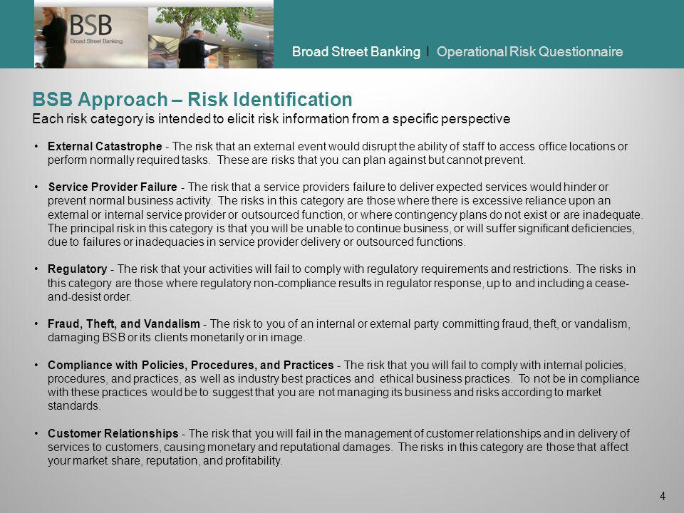 BSB Approach – Risk Identification Each risk category is intended to elicit risk information from a specific perspective