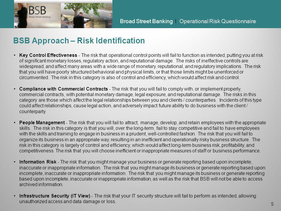 BSB Approach – Risk Identification
