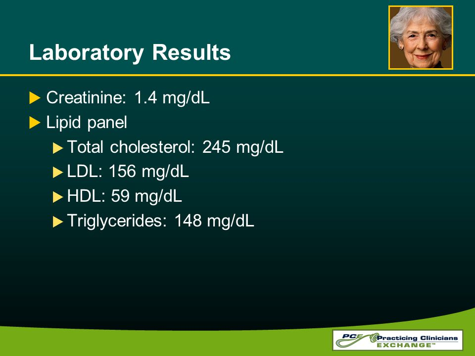Laboratory Results Creatinine: 1.4 mg/dL Lipid panel