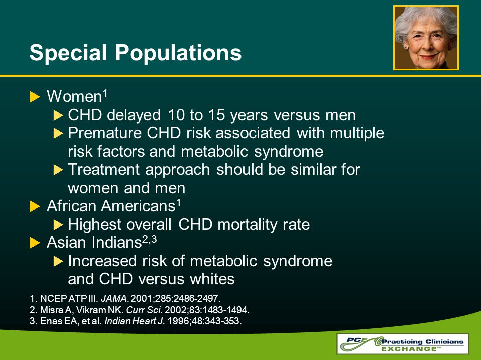 Special Populations Women1 CHD delayed 10 to 15 years versus men