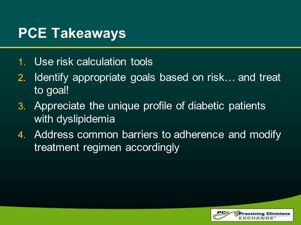 PCE Takeaways Use risk calculation tools