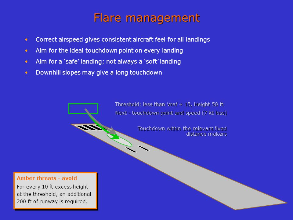 Flare management Correct airspeed gives consistent aircraft feel for all landings. Aim for the ideal touchdown point on every landing.