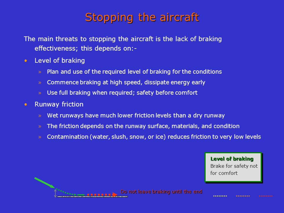 Stopping the aircraft The main threats to stopping the aircraft is the lack of braking effectiveness; this depends on:-