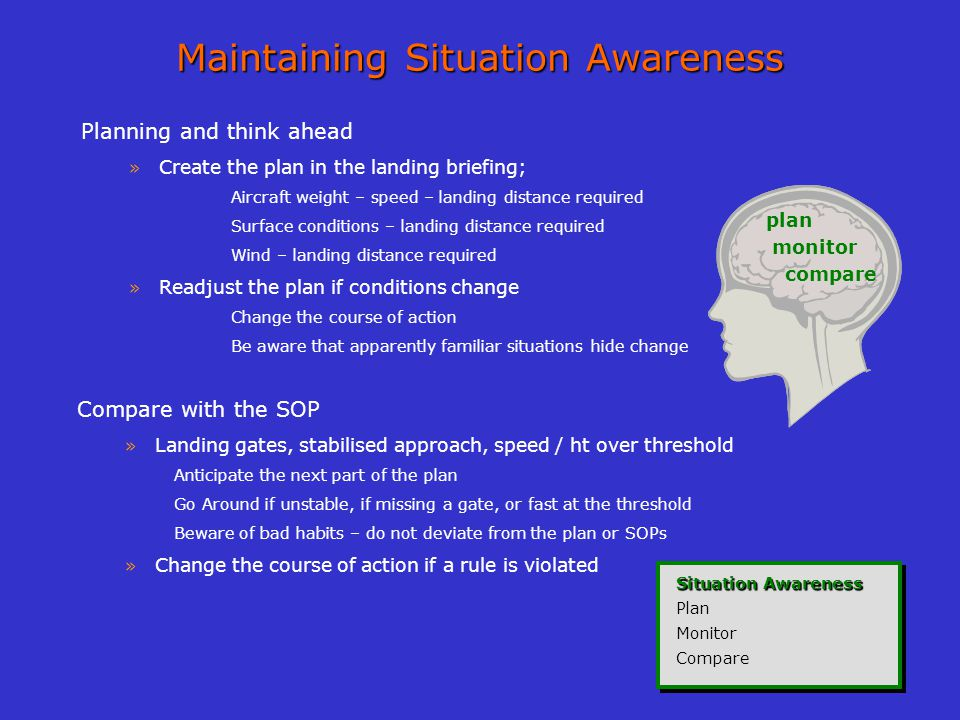 Maintaining Situation Awareness