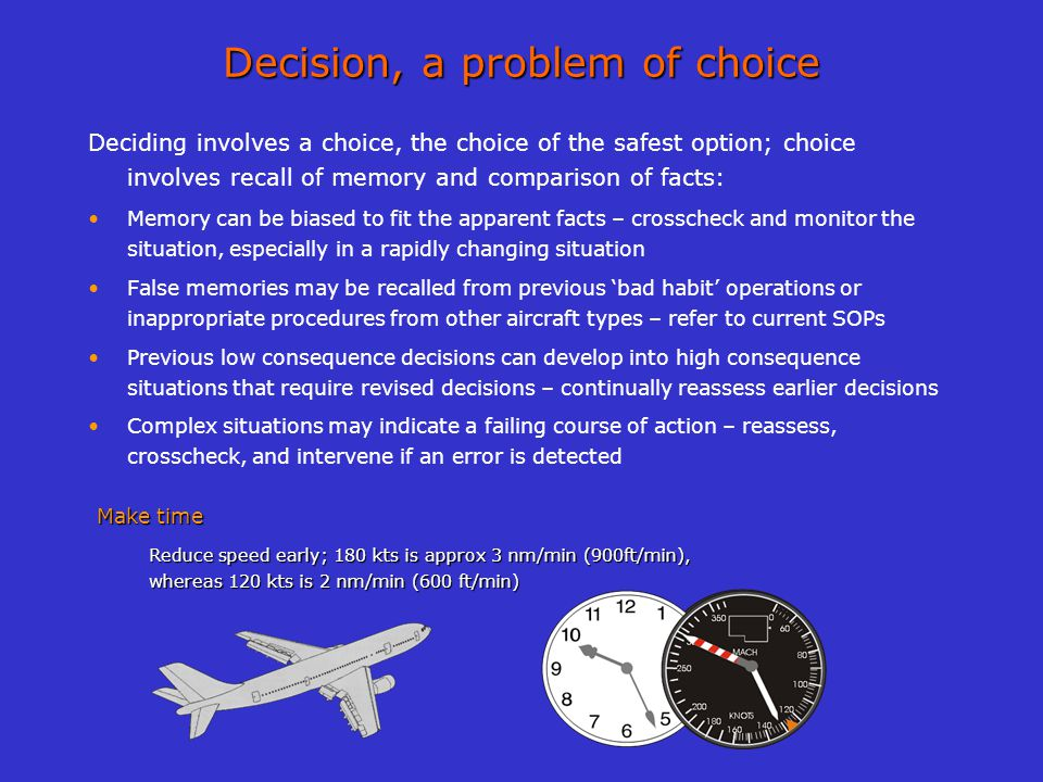 Decision, a problem of choice