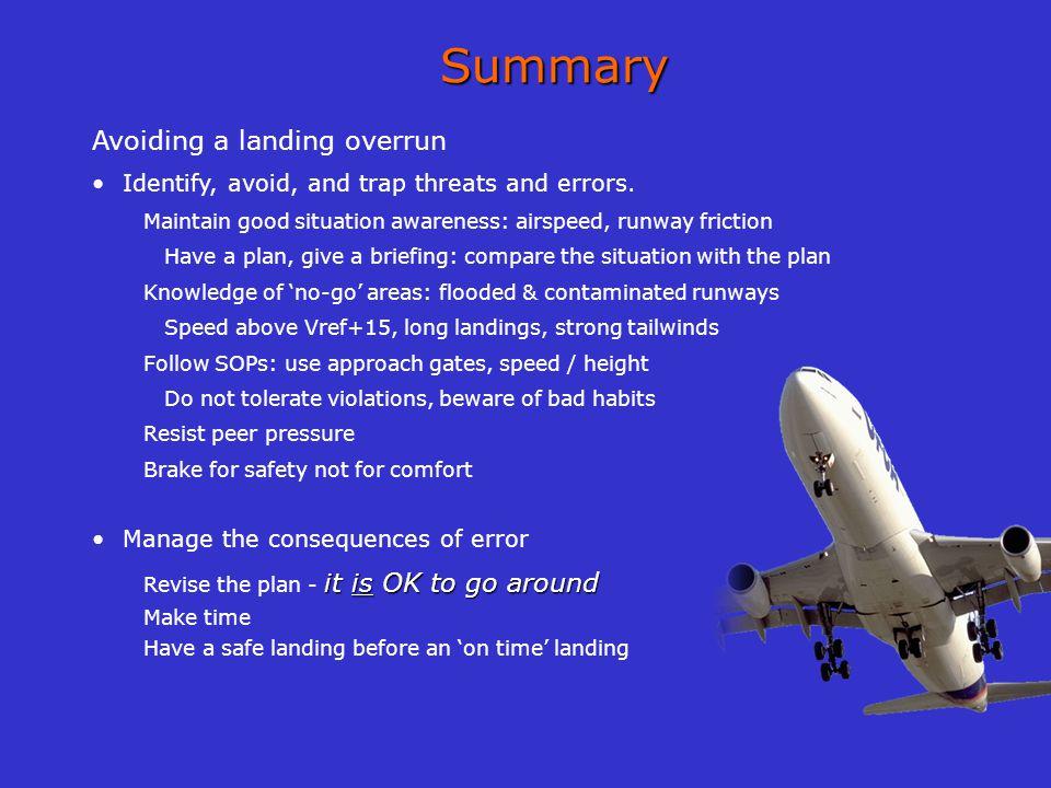 Summary Avoiding a landing overrun