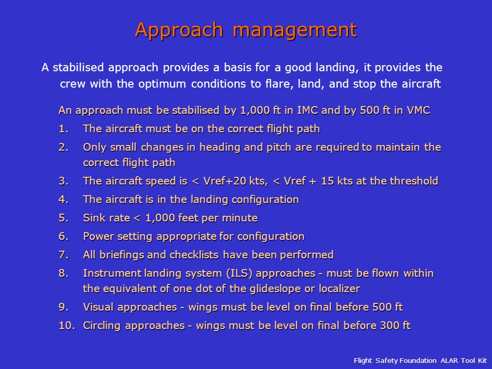 Approach management
