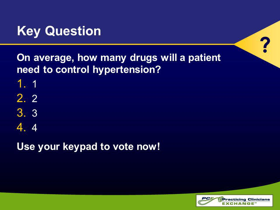 Key Question On average, how many drugs will a patient