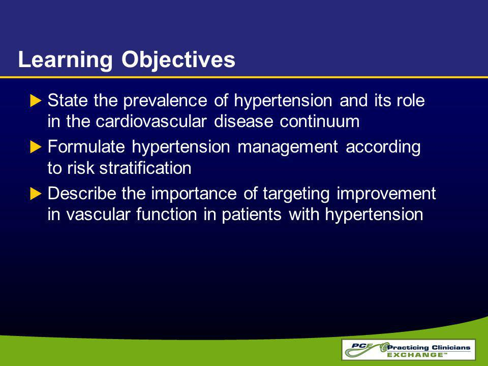 Learning Objectives State the prevalence of hypertension and its role in the cardiovascular disease continuum.