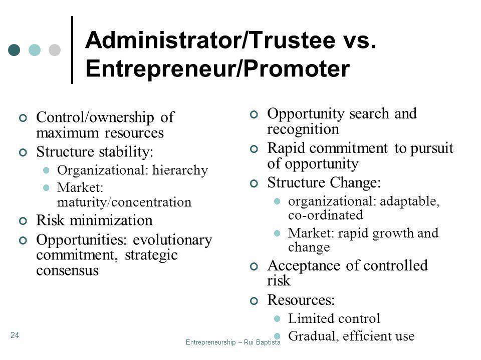 Administrator/Trustee vs. Entrepreneur/Promoter
