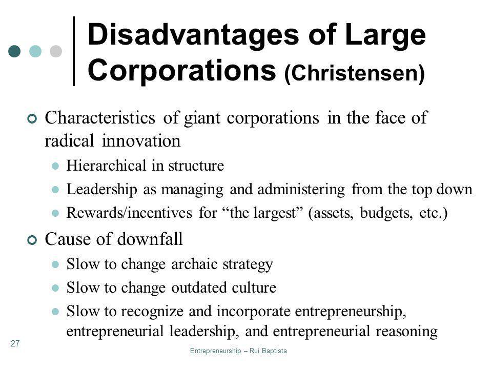 Disadvantages of Large Corporations (Christensen)