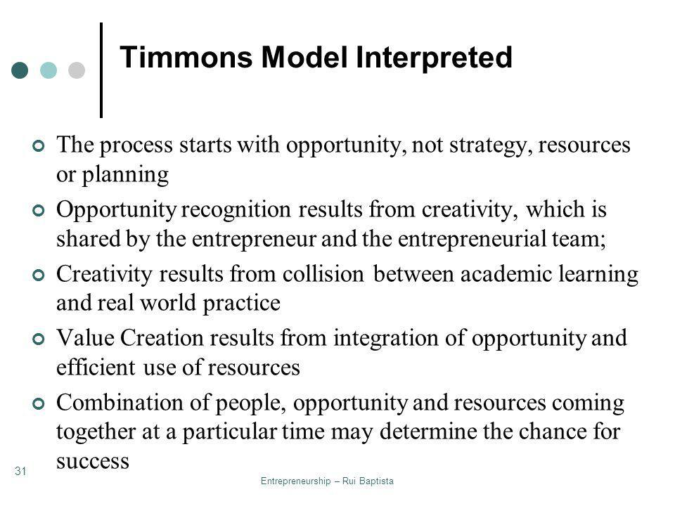 the timmons model of entrepreneurship Management the following essay concept of timmons model of entrepreneurship according to this model, there are.