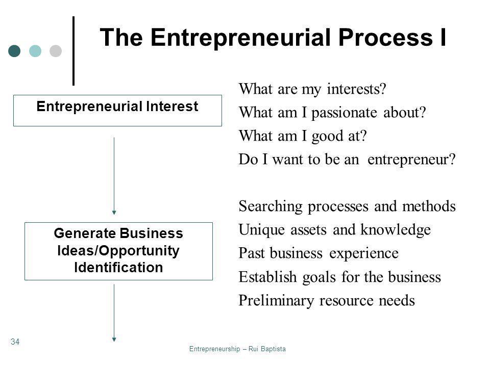 The Entrepreneurial Process I