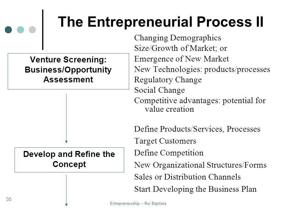 The Entrepreneurial Process II