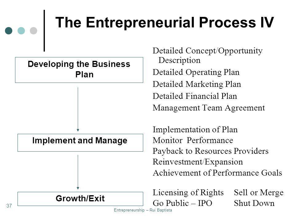 The Entrepreneurial Process IV
