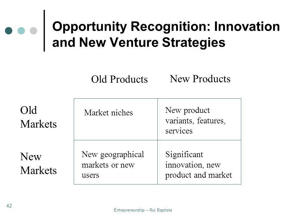Opportunity Recognition: Innovation and New Venture Strategies
