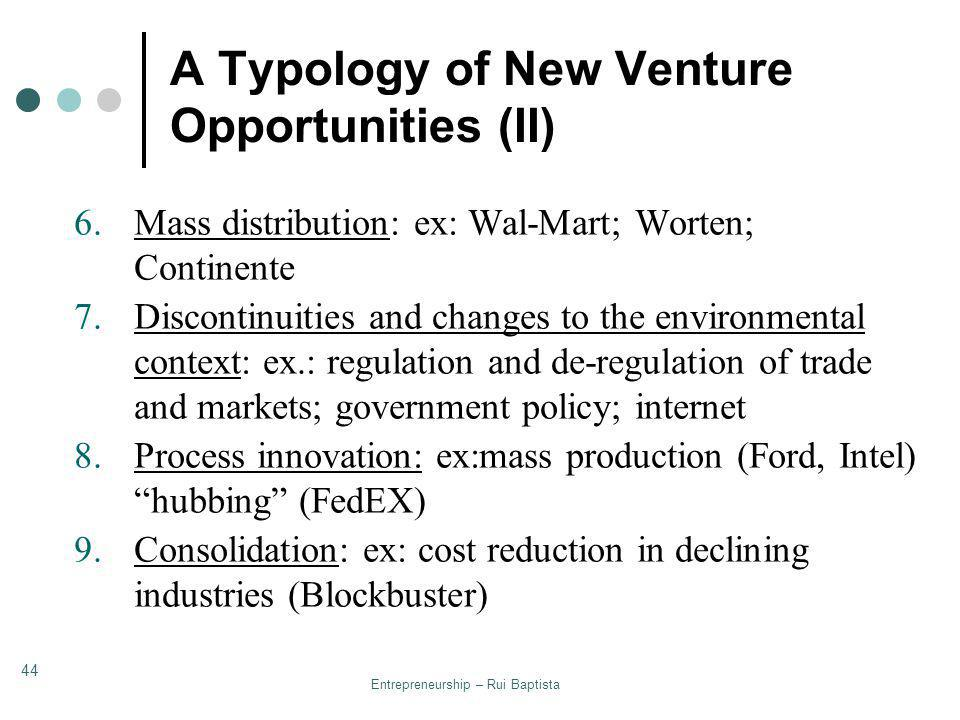 A Typology of New Venture Opportunities (II)