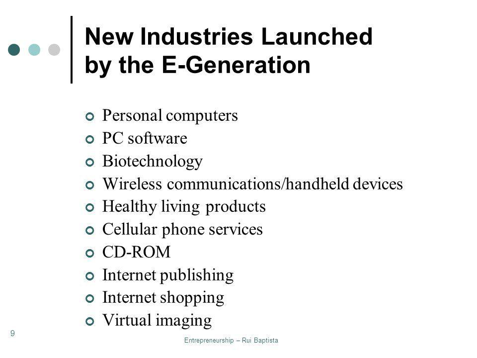 New Industries Launched by the E-Generation