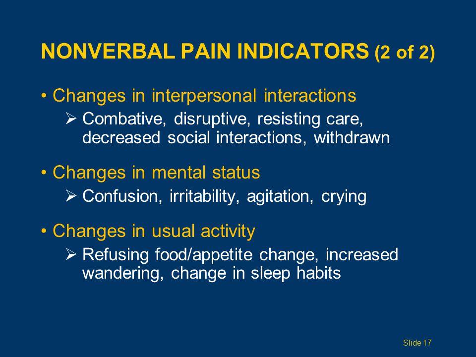 Nonverbal Pain Indicators (2 of 2)