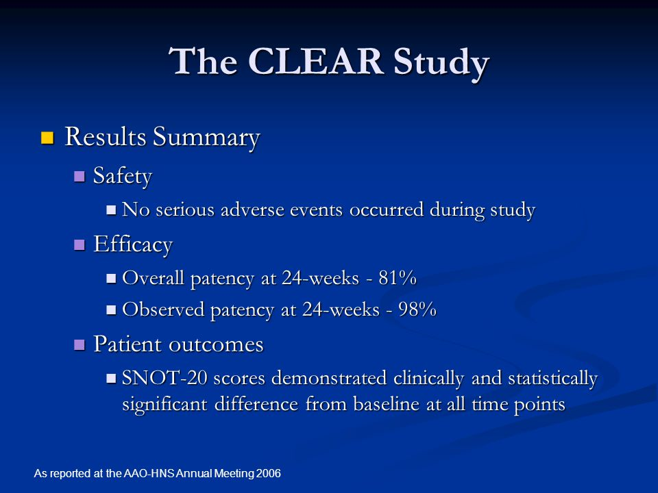 The CLEAR Study Results Summary Safety Efficacy Patient outcomes