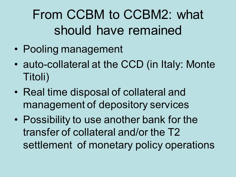 From CCBM to CCBM2: what should have remained