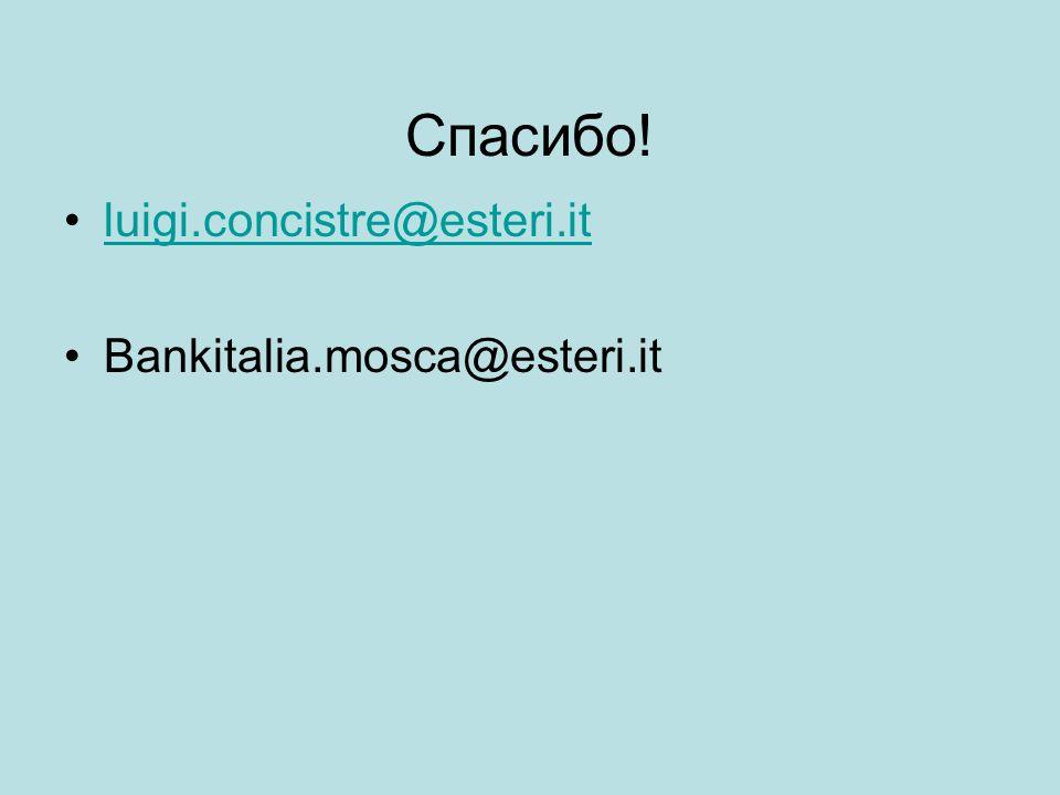 Cпасибо! luigi.concistre@esteri.it Bankitalia.mosca@esteri.it