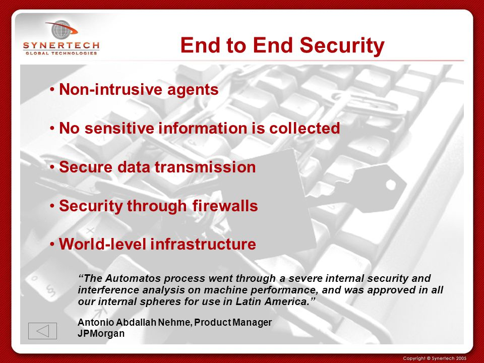 End to End Security Non-intrusive agents