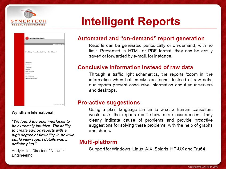 Intelligent Reports Automated and on-demand report generation