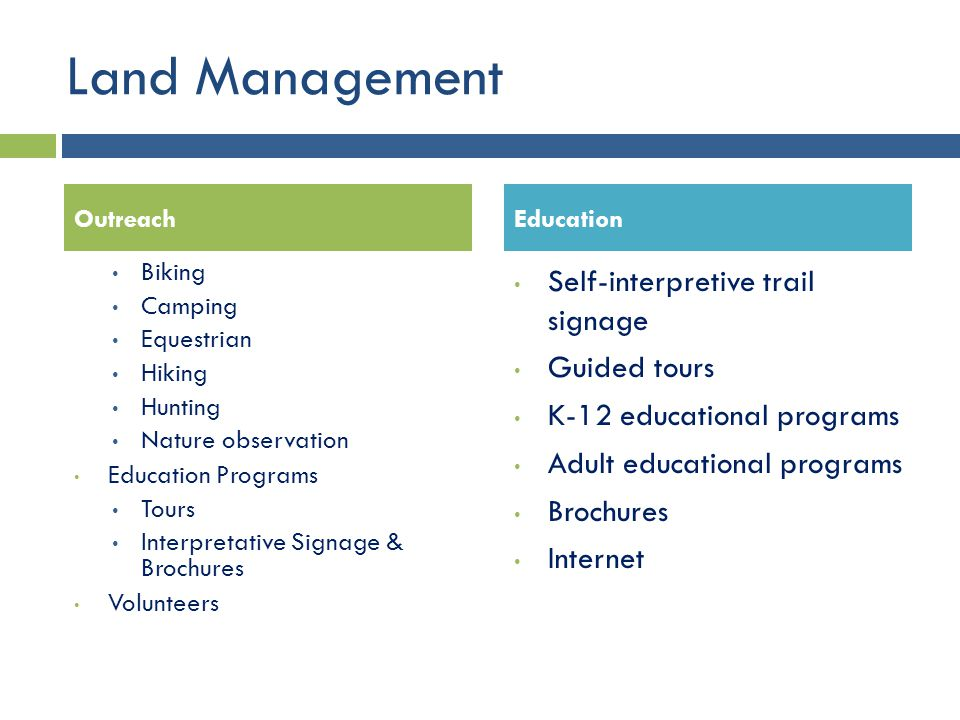 Land Management Self-interpretive trail signage Guided tours