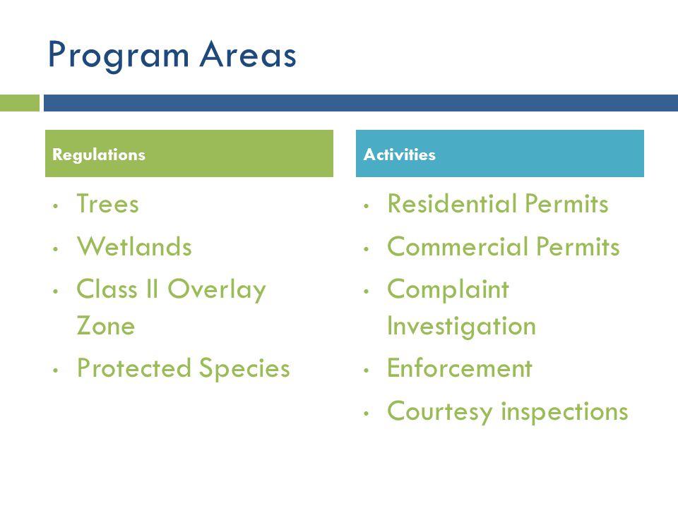 Program Areas Trees Wetlands Class II Overlay Zone Protected Species
